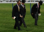 Moonlight Clouds jockey and trainer Thierry Jarnet and Freddie Head out walking the course with Christophe Lemaire